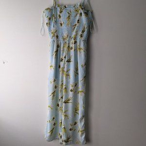 Sienna Sky Smocked Floral Jumpsuit Blue Size Small
